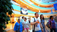 MOSCOW, 9 AUGUST 2014, Shopping complex Afimall City is located in business Stock Footage