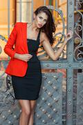 Girl in a red jacket. Stock Photos