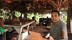 Traditional wood carvers shop on Pohnpei Stock Footage