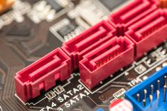Serial ATA Connectors On Motherboard - stock photo