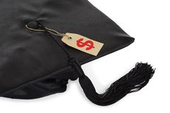 Black Graduation Cap With Tassel And Price Tag Isolated Over White Background Kuvituskuvat