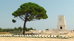 Lone Pine Memorial at WWI military cemetery in Gallipolis, Turkey Stock Footage