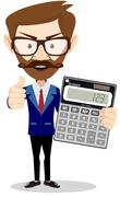 Accountant with a calculator, vector illustration - stock illustration