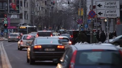 Dusk Evening Traffic Parking Bucharest Romania Stock Footage