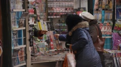 Plunging Newsstand Revenue Bucharest Romania Stock Footage