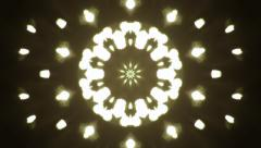 Black and white figured circle kaleidoscopic pattern like snowflake. - stock footage