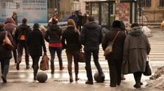 Pedestrian Crosswalk Bucharest Romania Stock Footage
