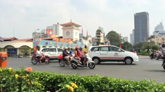 Ben Thanh market street traffic Stock Footage