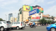 Dawn town in Saigon traffic time lapse Stock Footage