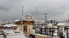 A beautiful snowy day in Istanbul. Static Camera Shot Stock Footage