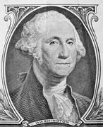 George Washington portrait on one dollar bill. Stock Photos