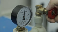 Manometer and faucet. - stock footage