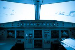 Cockpit view of airplane interior Stock Photos