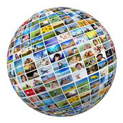 Globe, ball with various pictures of people, nature, objects, places - stock illustration