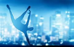 Hip hop, break dance performed by young man in city lights - stock illustration