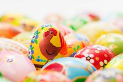 Handmade Easter eggs collection. Spring, chicken patterns art, unique. - stock photo