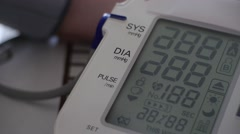 Blood pressure - medical digital display - medical diagnosis Stock Footage