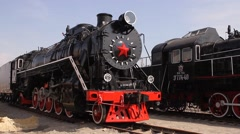 Two old soviet trains Stock Footage