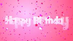 Happy Birthday Message with Pink Falling Stars on Pink Background Stock Footage