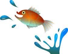 Stock Illustration of Cartoon Jumping Fish