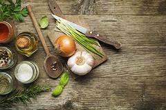 Ingredients for cooking on wooden table - stock photo