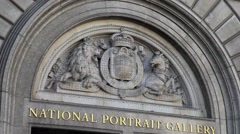 National Portrait Gallery Entrance, London UK Stock Footage