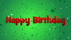 Happy Birthday Message with Green Falling Stars on Green Background Stock Footage