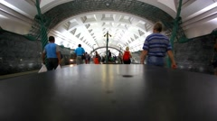 MOSCOW, RUSSIA, 13 AUGUST 2014, Timelapse speed up. People using subway public Stock Footage