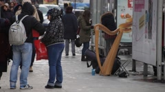 Musical Instruments Left on Streets of Bucharest Stock Footage