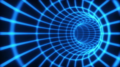 The blue abstract 3d tunnel from a grid. Loop. Stock Footage