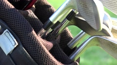 Golf Bag and Golf Clubs - stock footage