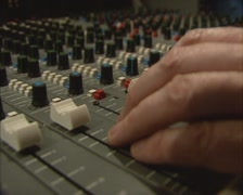 1980s music mix table in recording studio multitrack, slider up - stock footage