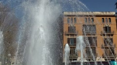 Spain Palma de Mallorca 016 fountains on a roundabout Stock Footage