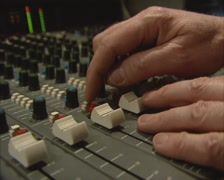 1980s music mix table in recording studio multitrack, slider down - stock footage