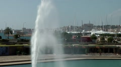 Spain Palma de Mallorca 013 Dalt Murada fountain and cityscape Stock Footage
