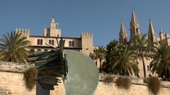 Spain Palma de Mallorca 008 Cathedral towers and fortress Stock Footage