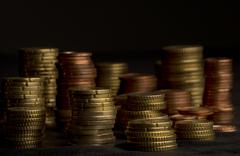 heaps of coins - stock photo