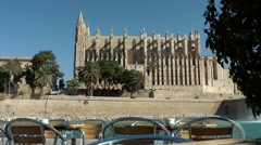 Spain Palma de Mallorca 001 Gothic style Cathedral and a cafe Stock Footage