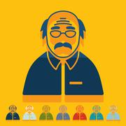 Flat design: senior citizens - stock illustration