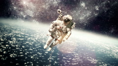 Astronaut in outer space against the backdrop of the planet earth. - stock footage