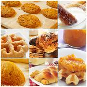 Pastries collage Stock Photos