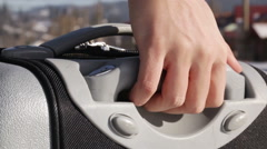 Retractable Handle Suitcase Stock Footage