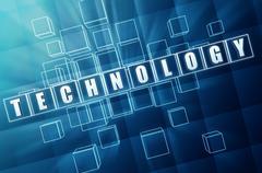 technology in blue glass blocks - stock illustration