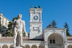 The statue of Hercules(17th century) in the background with the clock tower o Stock Photos