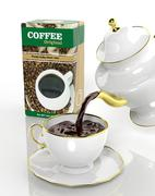 Pack of coffee and teapot pouring fresh coffee to the cup Stock Illustration