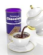 Package of chocolate and teapot pouring fresh choco to the cup - stock illustration