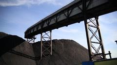 Belt conveyor in the coal industry - stock footage