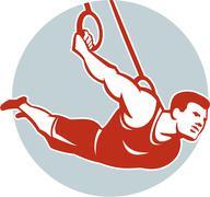 Stock Illustration of Crossfit Athlete Muscle-Up Gymnastics Ring Retro