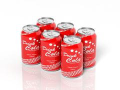 3D six pack collection of cola cans isolated on white - stock illustration