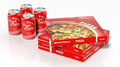 3D cola cans and pizza boxes isolated on white Stock Illustration